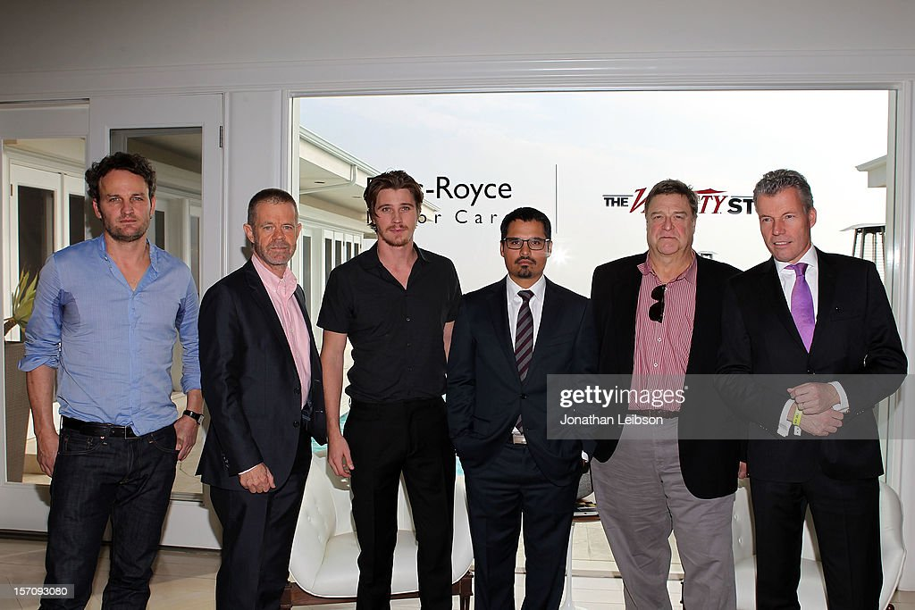 Actors Jason Clarke, William H. Macy, Garrett Hedlund, Michael Pena, John Goodman and CEO Rolls-Royce Motor Cars Torsten Mueller-Oetvoes attend The Variety Studio: Awards Edition held at a private residence on November 28, 2012 in Los Angeles, California.
