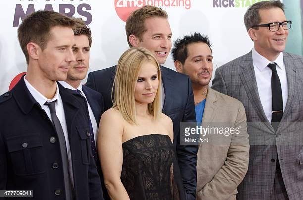 Actors Jason Dohring Chris Lowell Kristen Bell Ryan Hansen Francis Capra and Director Rob Thomas attend the 'Veronica Mars' screening at AMC Loews...