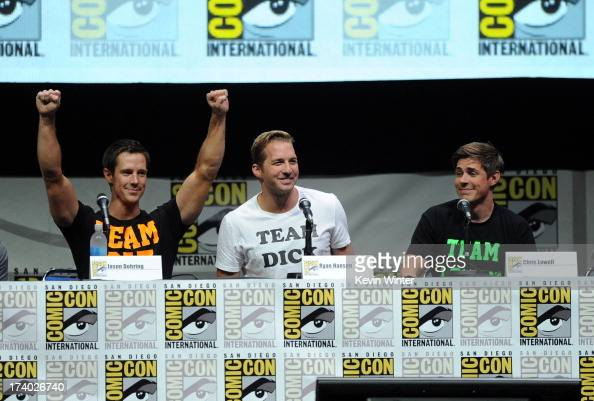 Actors Jason Dohring Ryan Hansen and Chris Lowell speak onstage at the 'Veronica Mars' special video presentation and QA during ComicCon...