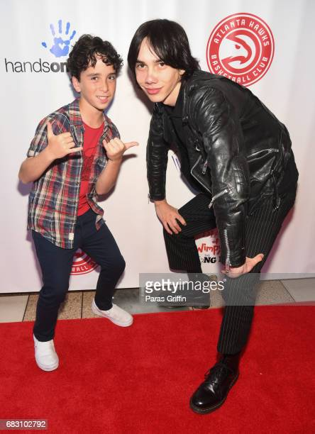 Actors Jason Drucker and Charlie Wright attend 'Diary Of A Wimpy Kid The Long Haul' Atlanta screening hosted by Dwight Howard at Regal Atlantic...