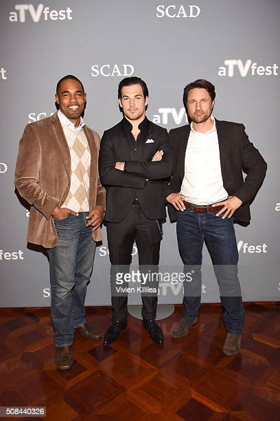 Actors Jason George Giacomo Gianniotti and Martin Henderson attend 'Grey's Anatomy' event during aTVfest 2016 presented by SCAD on February 4 2016 in...