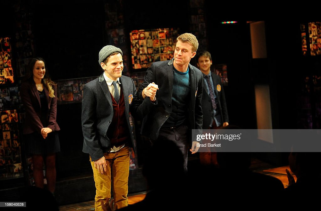 Actors Jason Hite (L) and Taylor Trensch attend 'BARE The Musical' Opening Night at New World Stages on December 9, 2012 in New York City.