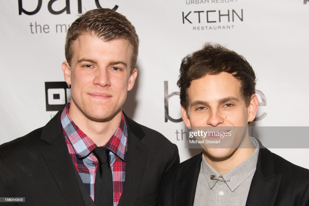 Actors Jason Hite (L) and Taylor Trensch attend 'BARE The Musical' Opening Night After Party at Out Hotel on December 9, 2012 in New York City.