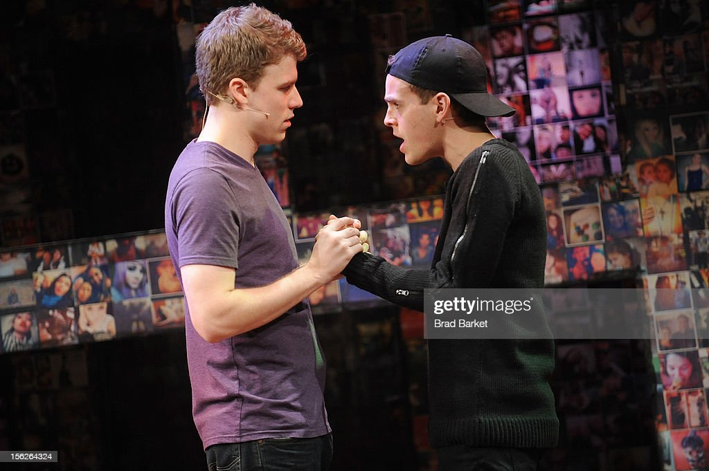Actors Jason Hite (L) and Taylor Trensch attend the 'Bare' Press Rehearsal at New World Stages on November 12, 2012 in New York City.