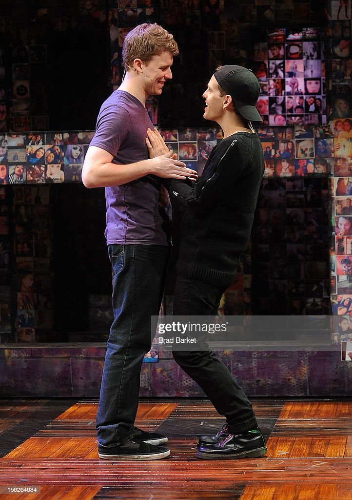 Actors Jason Hite (L) and Taylor Trensch attends the 'Bare' Press Rehearsal at New World Stages on November 12, 2012 in New York City.