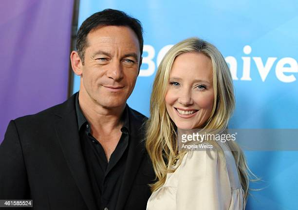 Actors Jason Isaacs and Anne Heche arrive at NBCUniversal's 2015 Winter TCA Tour Day 1 at The Langham Huntington Hotel and Spa on January 15 2015 in...