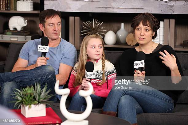 Actors Jason Isaacs and Avery Phillips and director Nikole Beckwith attend The Variety Studio At Sundance Presented By Dockers on January 25 2015 in...