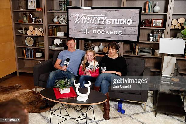Actors Jason Isaacs and Avery Phillips and director Nikole Beckwith speak at The Variety Studio At Sundance Presented By Dockers on January 25 2015...