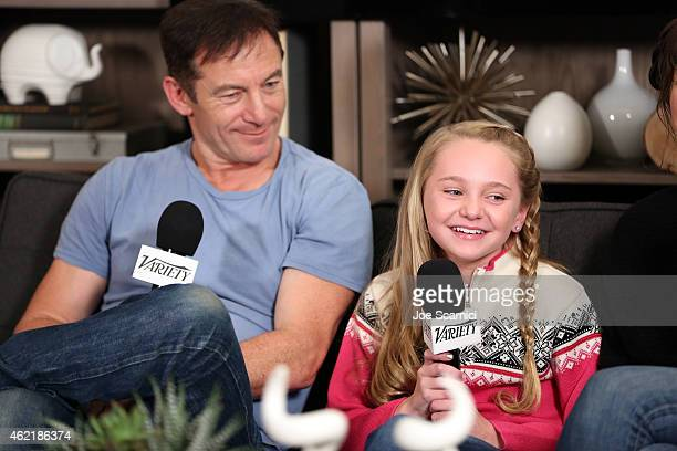 Actors Jason Isaacs and Avery Phillips attends The Variety Studio At Sundance Presented By Dockers on January 25 2015 in Park City Utah