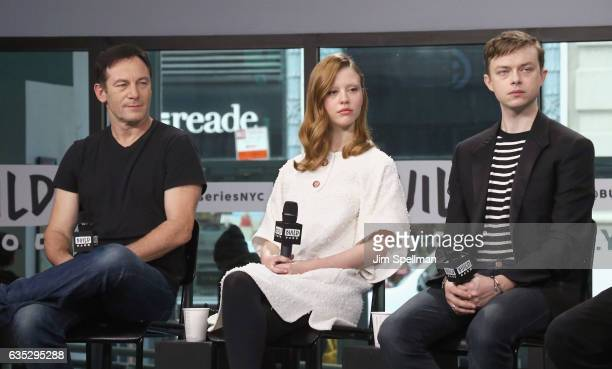 Actors Jason Isaacs Mia Goth and Dane DeHaan attend the Build series to discuss 'A Cure For Wellness' at Build Studio on February 14 2017 in New York...