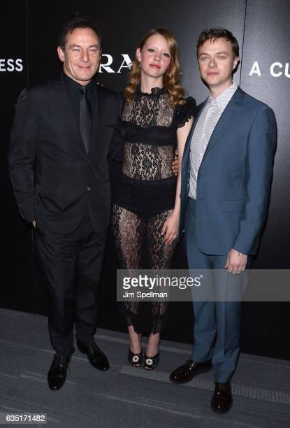 Actors Jason Isaacs Mia Goth and Dane DeHaan attend the screening of 'A Cure for Wellness' hosted by 20th Century Fox and Prada at Landmark's...