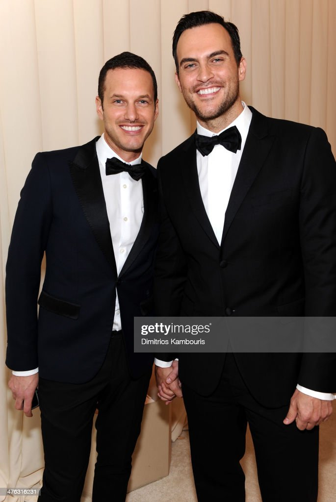 Actors Jason Landau and Cheyenne Jackson attend the 22nd Annual Elton John AIDS Foundation Academy Awards Viewing Party at The City of West Hollywood...
