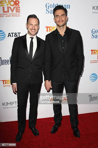 Actors Jason Landau and Cheyenne Jackson attend The Trevor Project's 2016 TrevorLIVE LA at The Beverly Hilton Hotel on December 4 2016 in Beverly...