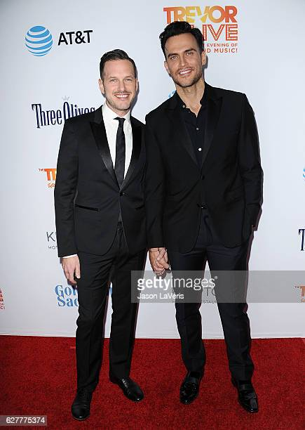 Actors Jason Landau and Cheyenne Jackson attend the TrevorLIVE Los Angeles 2016 fundraiser at The Beverly Hilton Hotel on December 4 2016 in Beverly...