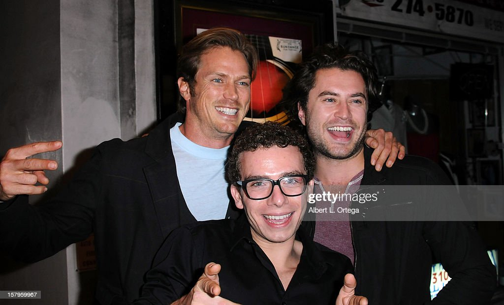 Actors <a gi-track='captionPersonalityLinkClicked' href=/galleries/search?phrase=Jason+Lewis&family=editorial&specificpeople=203274 ng-click='$event.stopPropagation()'>Jason Lewis</a>, Marc Donato and Kevin Ryan arrive for the Screening Of 'Bad Kids Go To Hell' held at Laemmle Music Hall Theater on December 7, 2012 in Beverly Hills, California.