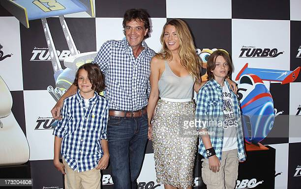 Actors Jason Lively and Blake Lively and family attend the 'Turbo' New York Premiere at AMC Loews Lincoln Square on July 9 2013 in New York City