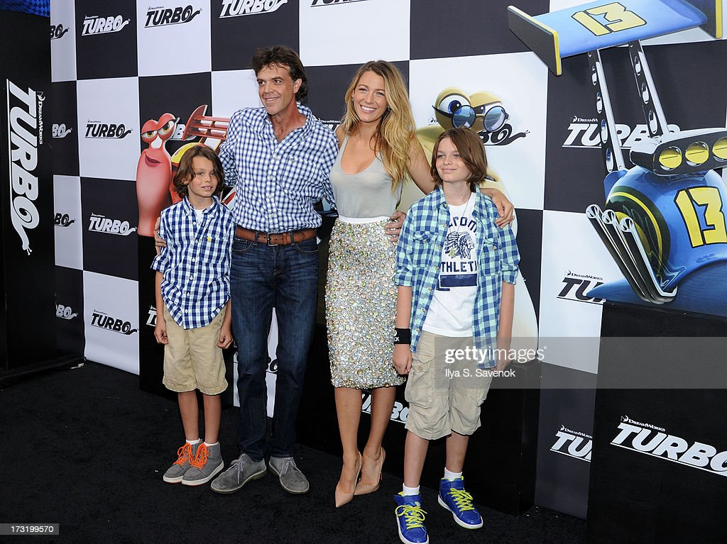 Actors <a gi-track='captionPersonalityLinkClicked' href=/galleries/search?phrase=Jason+Lively&family=editorial&specificpeople=4068551 ng-click='$event.stopPropagation()'>Jason Lively</a> (2nd from L) and <a gi-track='captionPersonalityLinkClicked' href=/galleries/search?phrase=Blake+Lively&family=editorial&specificpeople=221673 ng-click='$event.stopPropagation()'>Blake Lively</a> (2nd from R) attend the 'Turbo' New York Premiere at AMC Loews Lincoln Square on July 9, 2013 in New York City.