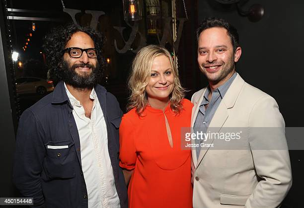 Actors Jason Mantzoukas Amy Poehler and Nick Kroll attend the Screening of A24's 'Obvious Child' after party at Wood Vine on June 5 2014 in Hollywood...