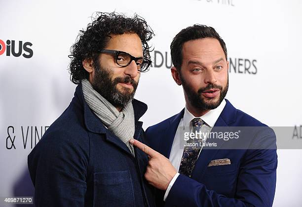 Actors Jason Mantzoukas and Nick Kroll attend the premiere of 'Adult Beginners' at ArcLight Hollywood on April 15 2015 in Hollywood California