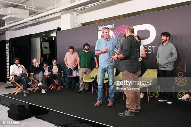 Actors Jason Mantzoukas Matt Walsh Matt Besser Paul Rust Neil Casey John Gemberling Neil Flynn D'Arcy Carden Colton Dunn and Adam Pally speak onstage...