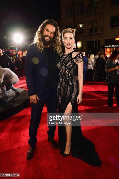 Actors Jason Momoa and Amber Heard attend the premiere of Warner Bros Pictures' 'Justice League' at Dolby Theatre on November 13 2017 in Hollywood...