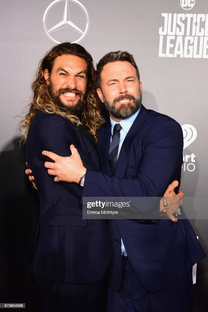 Actors Jason Momoa and Ben Affleck attend the premiere of Warner Bros. Pictures' 'Justice League' at Dolby Theatre on November 13, 2017 in Hollywood, California.
