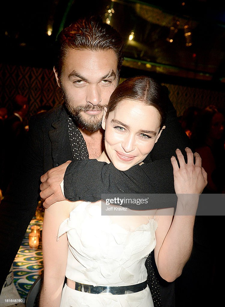 Actors <a gi-track='captionPersonalityLinkClicked' href=/galleries/search?phrase=Jason+Momoa&family=editorial&specificpeople=2310586 ng-click='$event.stopPropagation()'>Jason Momoa</a> and <a gi-track='captionPersonalityLinkClicked' href=/galleries/search?phrase=Emilia+Clarke&family=editorial&specificpeople=7426687 ng-click='$event.stopPropagation()'>Emilia Clarke</a> attend HBO's official Emmy after party in The Plaza at the Pacific Design Center on September 22, 2013 in Los Angeles, California.