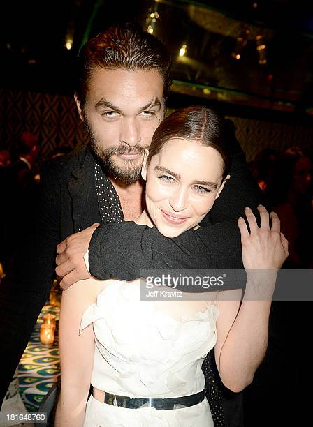 Actors Jason Momoa and Emilia Clarke attend HBO's official Emmy after party in The Plaza at the Pacific Design Center on September 22 2013 in Los...