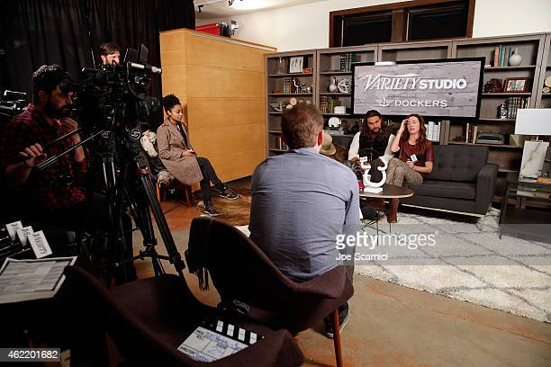 Actors Jason Momoa and Julianne Nicholson speak at The Variety Studio At Sundance Presented By Dockers on January 25 2015 in Park City Utah