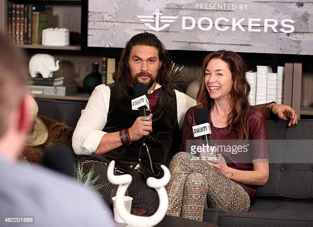 Actors Jason Momoa and Julianne Nicholson speak at The Variety Studio At Sundance Presented By Dockers on January 25 2015 in Park City Utah