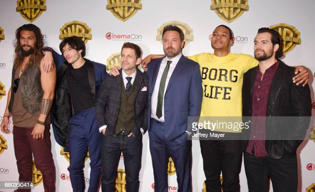 Actors Jason Momoa Ezra Miller director Zack Snyder actors Ben Affleck Ray Fisher and Henry Cavill arrive at the CinemaCon 2017 Warner Bros Pictures...