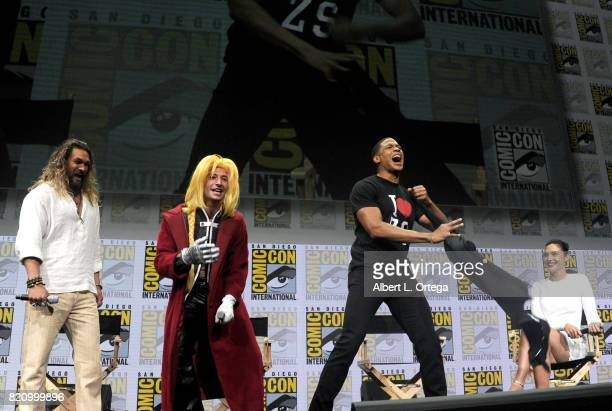 Actors Jason Momoa Ezra Miller Ray Fisher and Gal Gadot from 'Justice League' attend the Warner Bros Pictures Presentation during ComicCon...