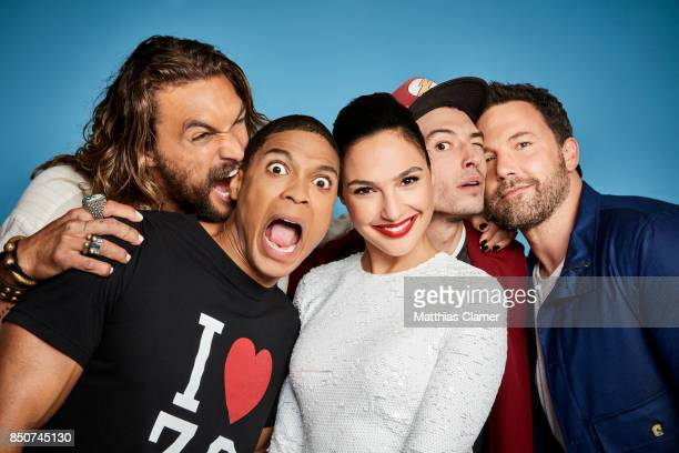 Actors Jason Momoa Ray Fisher Gal Gadot Ezra Miller and Ben Affleck from Justice League are photographed for Entertainment Weekly Magazine on July 22...