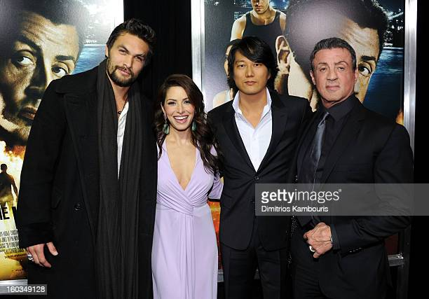 Actors Jason Momoa Sarah Shahi Sung Kang and Sylvester Stallone attend the 'Bullet To The Head' New York premiere at AMC Lincoln Square Theater on...