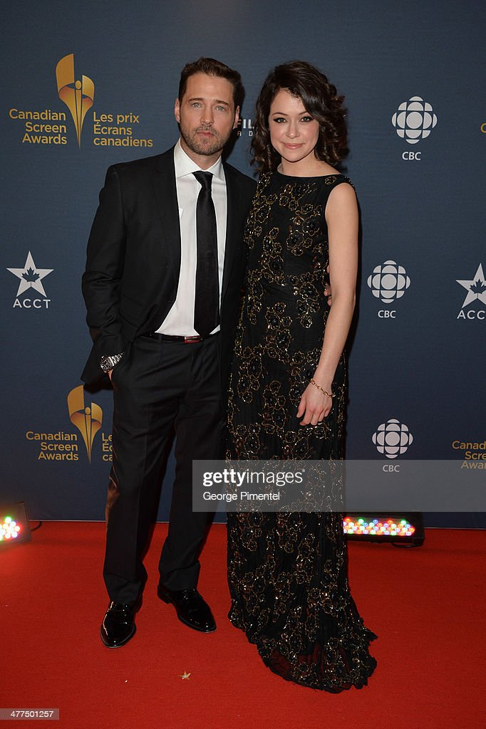 Actors <a gi-track='captionPersonalityLinkClicked' href=/galleries/search?phrase=Jason+Priestley&family=editorial&specificpeople=208687 ng-click='$event.stopPropagation()'>Jason Priestley</a> and <a gi-track='captionPersonalityLinkClicked' href=/galleries/search?phrase=Tatiana+Maslany&family=editorial&specificpeople=4489724 ng-click='$event.stopPropagation()'>Tatiana Maslany</a> arrive at the Canadian Screen Awards at Sony Centre for the Performing Arts on March 9, 2014 in Toronto, Canada.