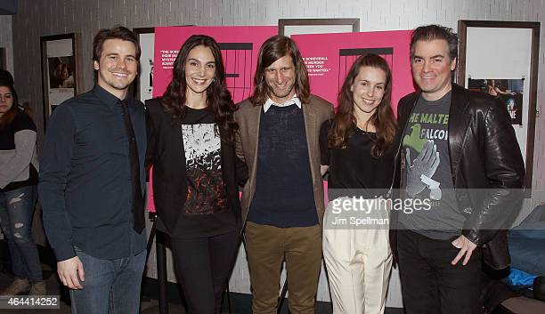 Actors Jason Ritter Annie Parisse director Lawrence Michael Levine actors Sophia Takal and Kevin Corrigan attend the 'Wild Canaries' New York...