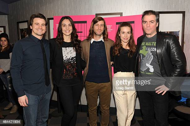Actors Jason Ritter Annie Parisse director Lawrence Michael Levine and actors Sophia Takal and Kevin Corrigan attend the 'Wild Canaries' New York...