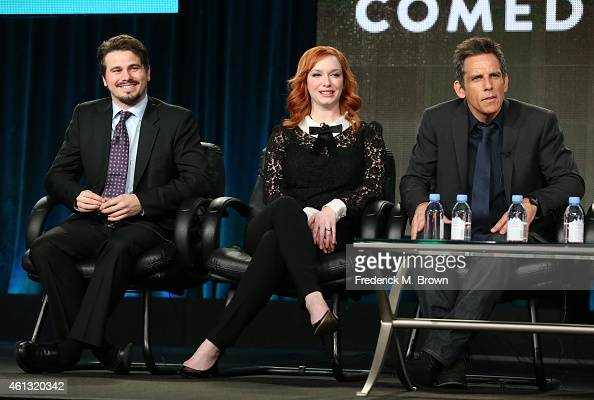 Actors Jason Ritter Christina Hendricks and Ben Stiller speak onstage during the 'Another Period' panel at the Comedy Central portion of the 2015...