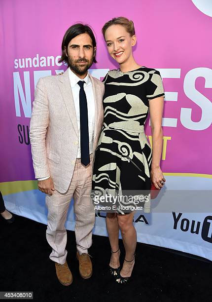 Actors Jason Schwartzman and Jess Weixler attend the screening of 'Listen Up Philip' during Sundance NEXT FEST at The Theatre at Ace Hotel on August...