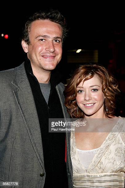 Actors Jason Segel and Alyson Hannigan pose for photos as they attend the CBS 'How I Met Your Mother' High Speed Dating Event at Grand Central...