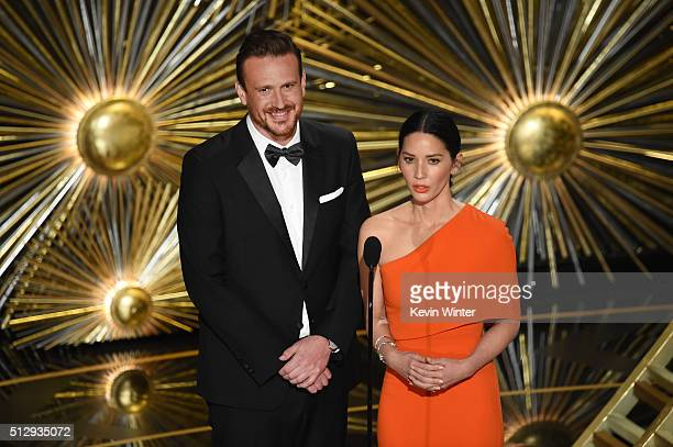 Actors Jason Segel and Olivia Munn speak onstage during the 88th Annual Academy Awards at the Dolby Theatre on February 28 2016 in Hollywood...