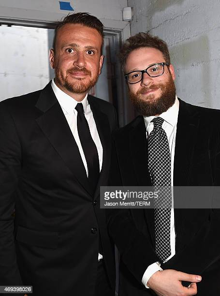 Actors Jason Segel and Seth Rogen pose backstage during the 2015 TV Land Awards at Saban Theatre on April 11 2015 in Beverly Hills California