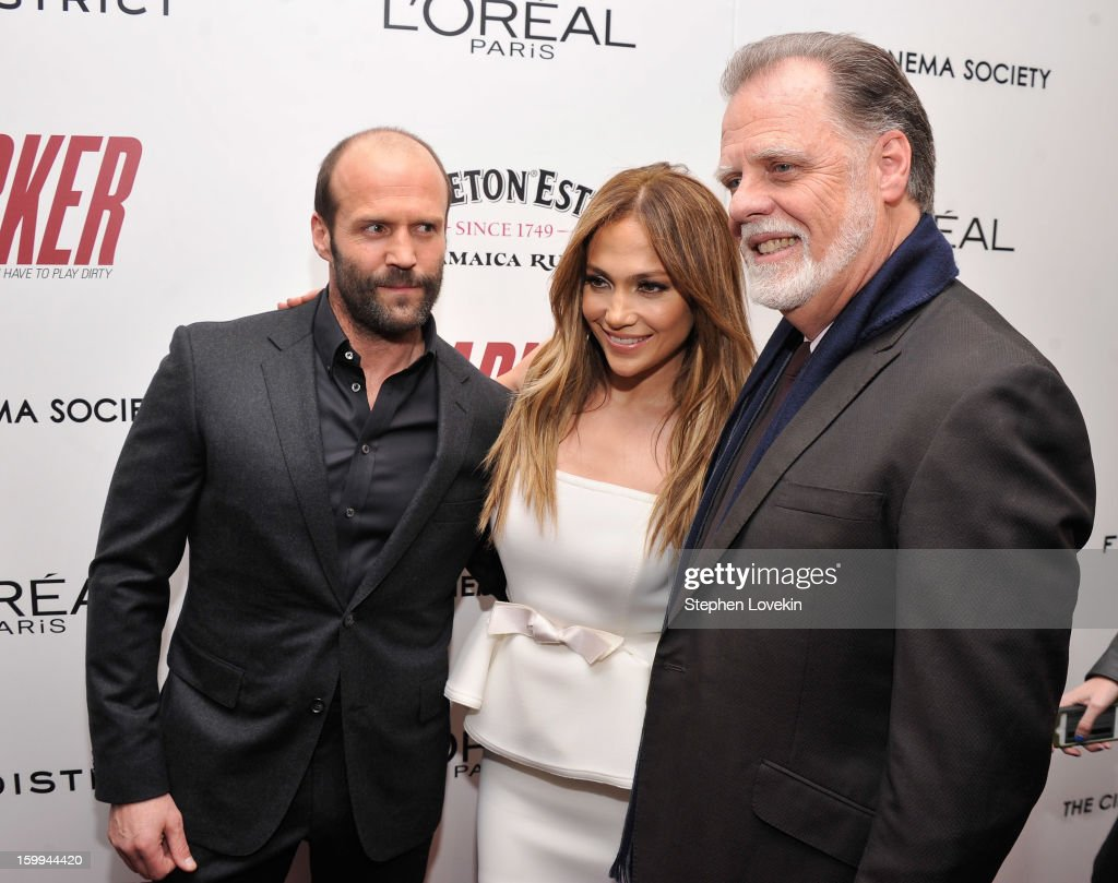Actors Jason Statham and Jennifer Lopez pose with Director Taylor Hackford at a screening of 'Parker' hosted by FilmDistrict, The Cinema Society, L'Oreal Paris and Appleton Estate at MOMA on January 23, 2013 in New York City.