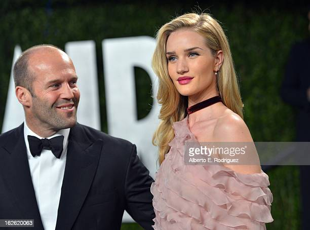 Actors Jason Statham and Rosie HuntingtonWhiteley arrive at the 2013 Vanity Fair Oscar Party hosted by Graydon Carter at Sunset Tower on February 24...