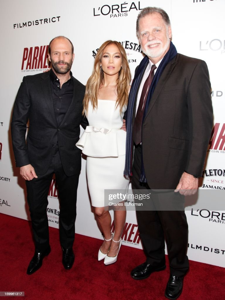 Actors Jason Statham, Jennifer Lopez and director Taylor Hackford attend the FilmDistrict with The Cinema Society, L'Oreal Paris & Appleton Estate screening of 'Parker' at The Museum of Modern Art on January 23, 2013 in New York City.