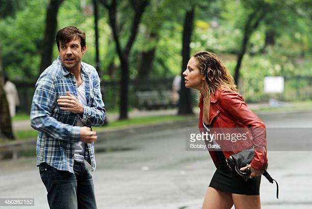 Actors Jason Sudeikis and Margarita Levieva on the set of 'Sleeping With Other People' on June 9 2014 in New York City