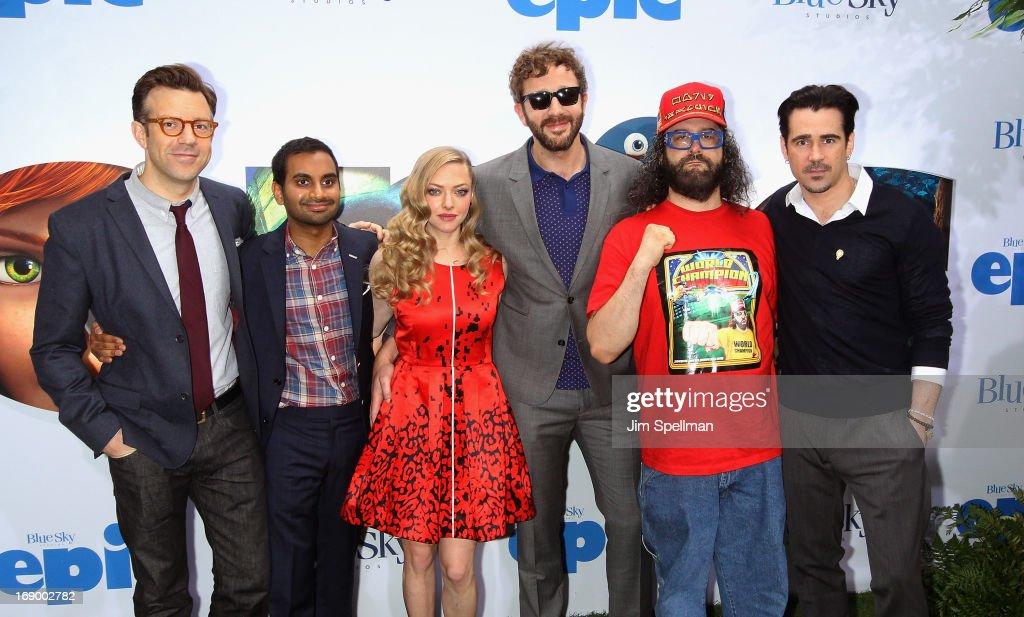 Actors Jason Sudeikis Aziz Ansari Amanda Seyfried Chris O'Dowd Judah Friedlander and Colin Farrell attend the 'Epic' New York Screening on May 18...