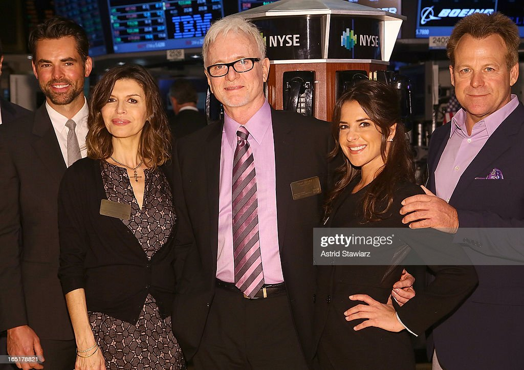 Actors Jason Thompson; Finola Hughes, Tony Geary, Kelly Monaco, and Kin Shriner of ABC's soap opera General Hospital ring the opening bell at the New York Stock Exchange on April 1, 2013 in New York City.