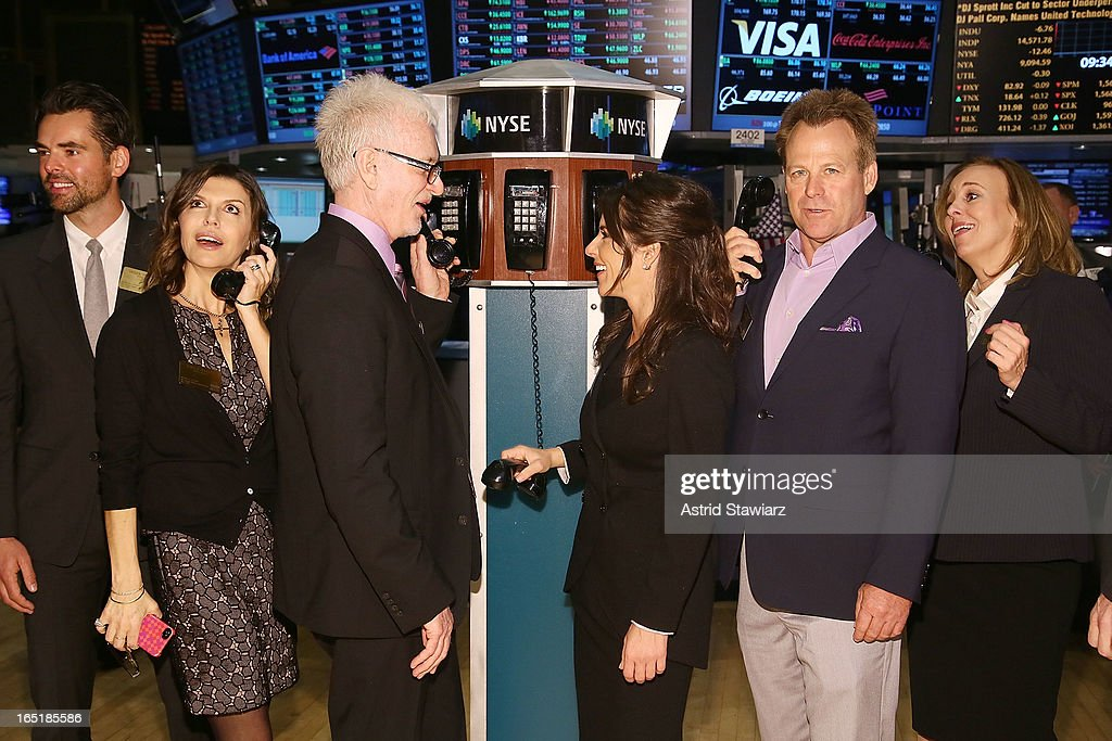 Actors Jason Thompson, Finola Hughes, Tony Geary, Kelly Monaco, Kin Shriner and Genie Francis of ABCÕs soap opera General Hospital ring the opening bell at the New York Stock Exchange on April 1, 2013 in New York City.