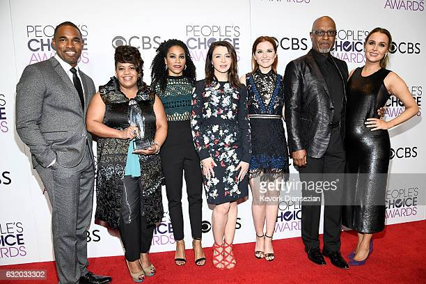 Actors Jason Winston George Chandra Wilson Kelly McCreary Caterina Scorsone Sarah Drew James Pickens Jr and Camilla Luddington pose in the press room...
